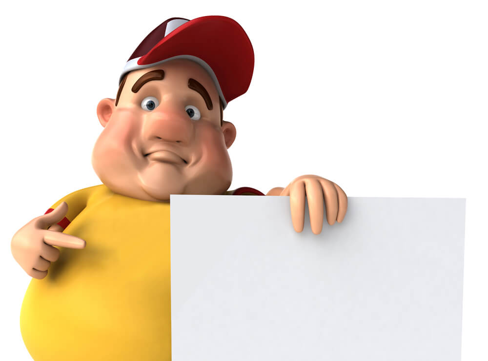 Illustrated man pointing at white card